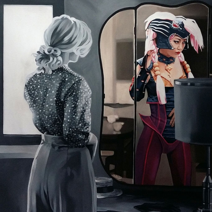 Oltre lo specchio 5 - cm 80x80 - (disponibile)