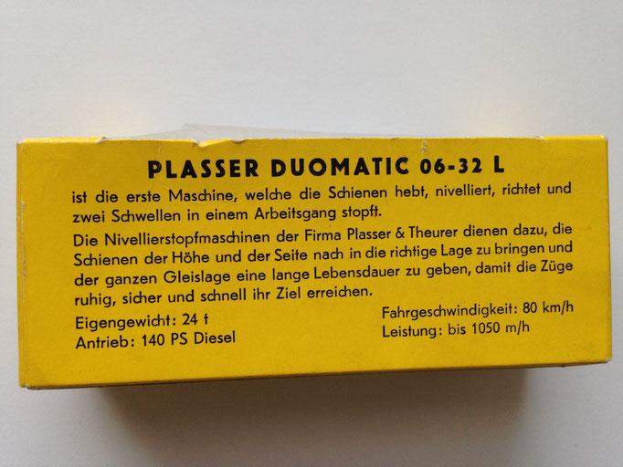 Nr. 400 Gleisstopfmaschine Plasser Duomatic - Rückseite der Verpackung