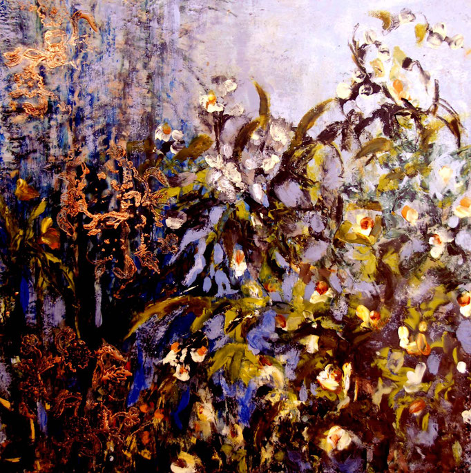 Through the Thicket past the Blue, Enkaustik und Ӧl, 50x50cm