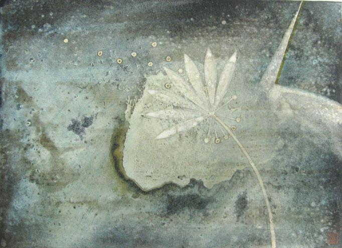 「宙」 F4 岩絵の具、墨、膠