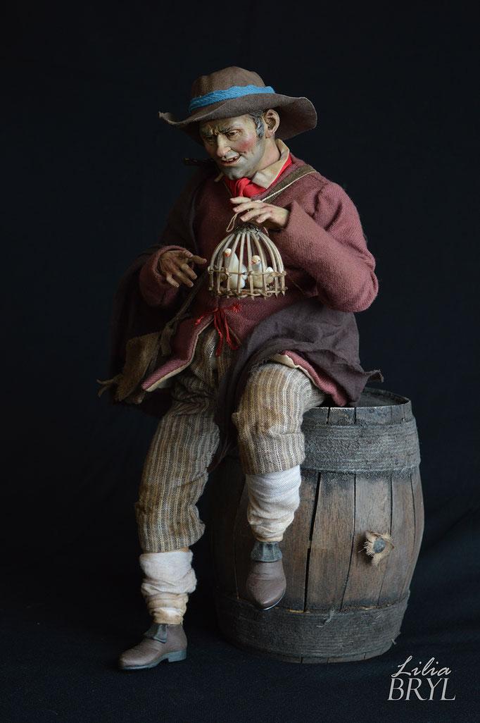 Mezzo carattere con una gabbia di colombi, pastore napoletano stile settecento