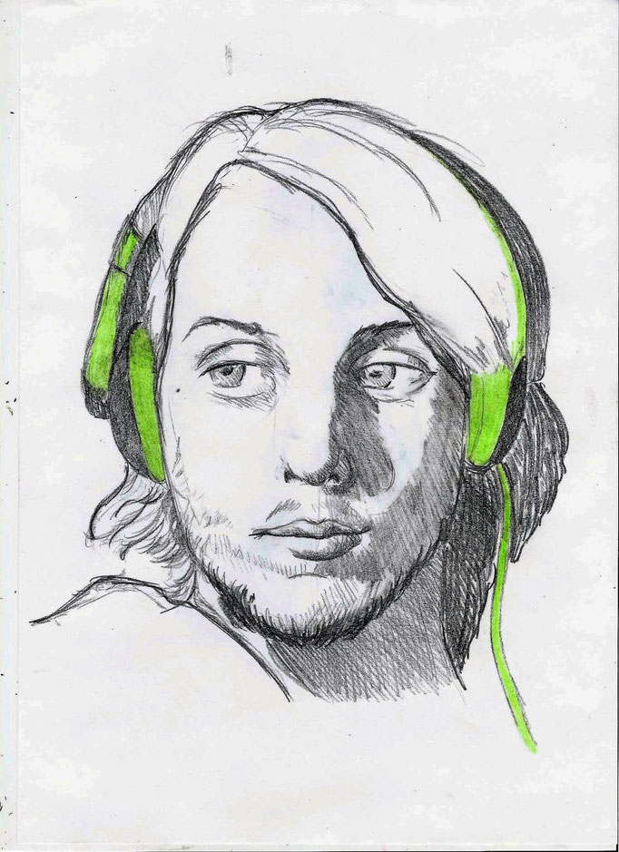 zelfportret 29.7 x 21cm potlood met kleurpotlood