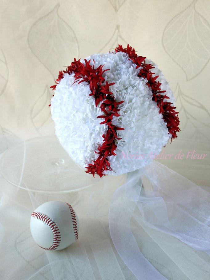 Baseball Bouquet  野球のボールの形のブーケ アーティフィシャルフラワー
