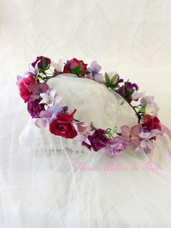 Rosy ロージー パープル系の細めの花かんむり