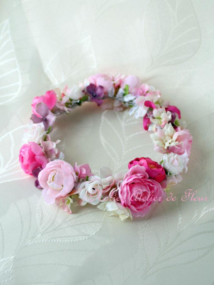 Rona ローナ ピンク系のアーティフィシャルフラワーを使った花かんむり