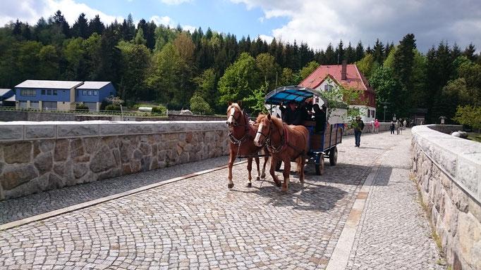 Fahrt mit dem Kremser über die Staumauer der Talsperre Klingenberg