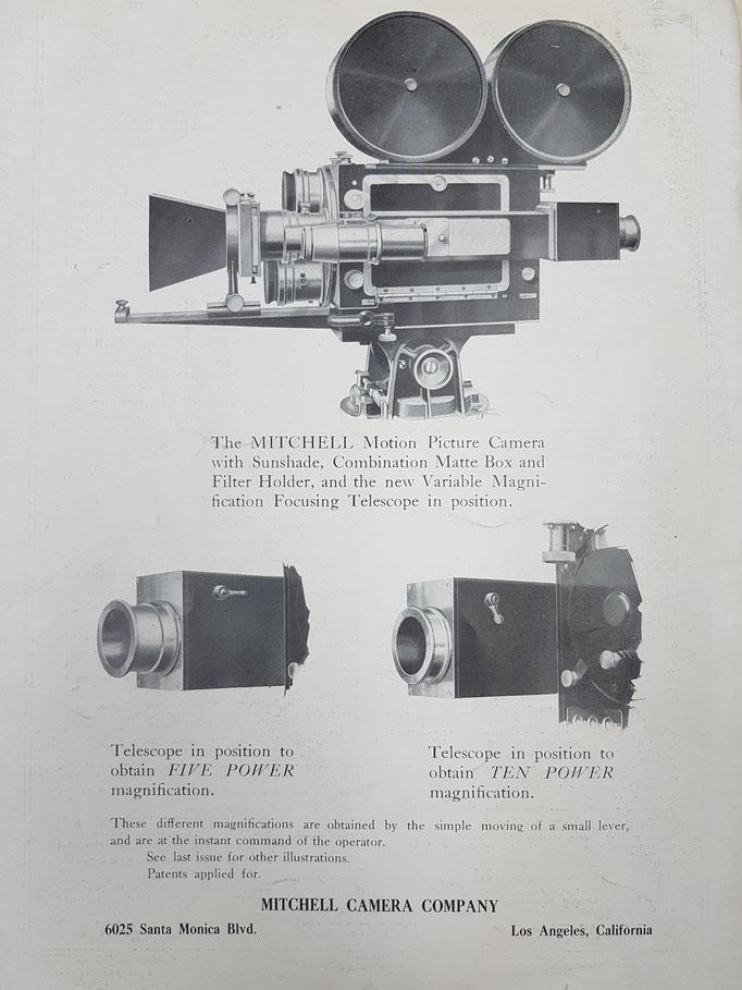 Zubehör für Mitchell Kameras aus dem Jahr 1923 - schon vor den Mitchell Kameras sorgte Bell & Howell für eine Revolution mit den ersten Metallkameras