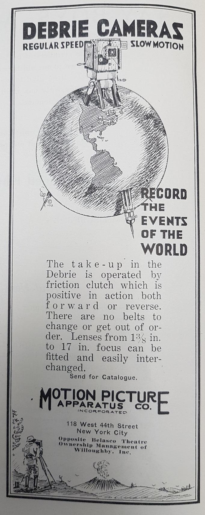 Die seinerzeit führende europäische Kamera - die Debrie - wurde bereits 1923 im AC beworben. Die Gebrüder Debrie hatten ihre Firma 1906 gegründet und mit der Parvo Serie zunächst in Holz und später auch in Metall den europäischen Standard gesetzt.