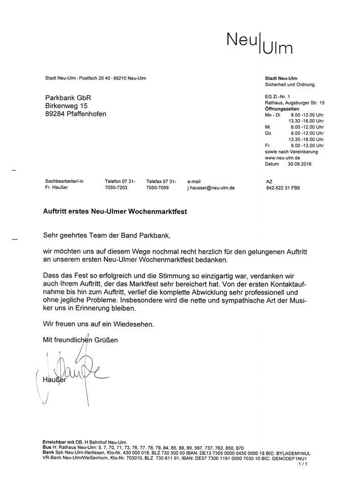 Rererenzschreiben Stadt Neu-Ulm