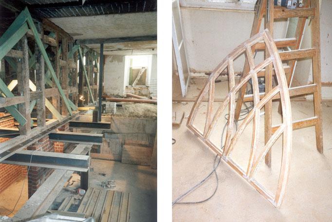 Details: neue Unterkellerung / Aufarbeitung der historischen Fenster