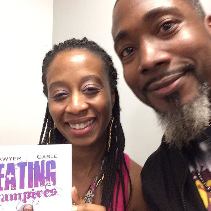 James with Regine Sawyer, coordinator and founder of Women in Comics NYC Collective International!
