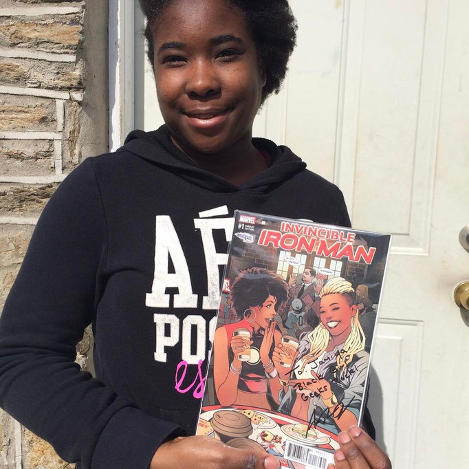 Shop owner, Ariell, signed copies of the Invincible Iron Man comic, in which she is featured on the variant cover!  Our daughters will never forget this moment!