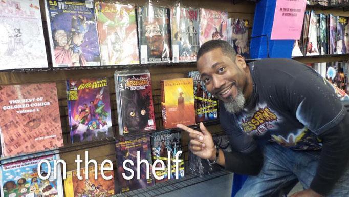 Look ma!  Our books are on the shelf at Amalgam Comics & Coffeehouse!
