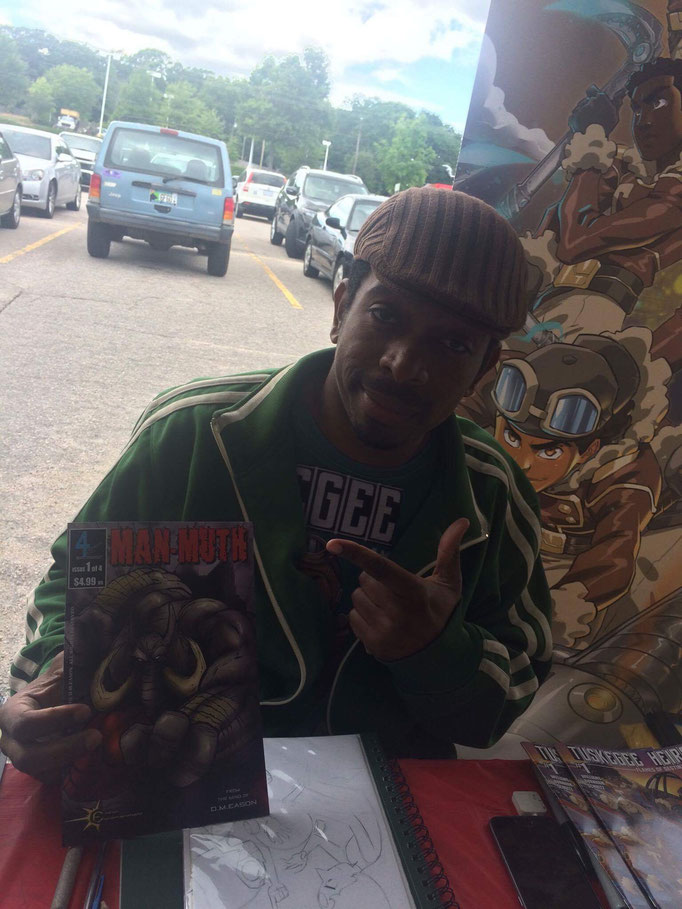 Tuskegee Heirs Co-Creator and Illustrator, Marcus Williams has his copy of Man-Muth!  Get yours!  Also, check out Marcus' Tuskegee Heirs series at http://marcusthevisual.com/tuskegee-heirs/.