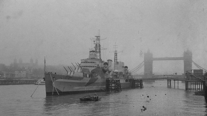 Peter: HMS Belfast and Tower Bridge in London fog