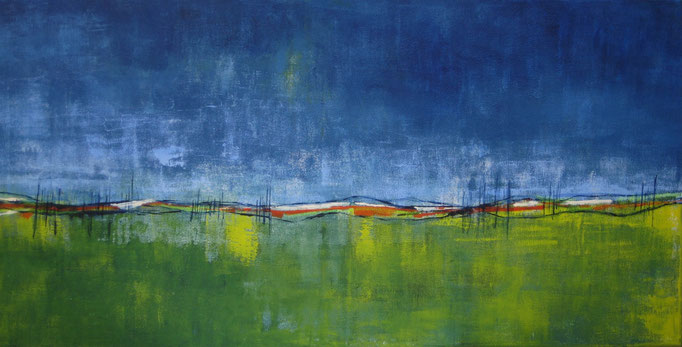 fertiggestellt 2017 - Titel: Abendlandschaft - Format 50 x 100 cm - Preis 250,00 €