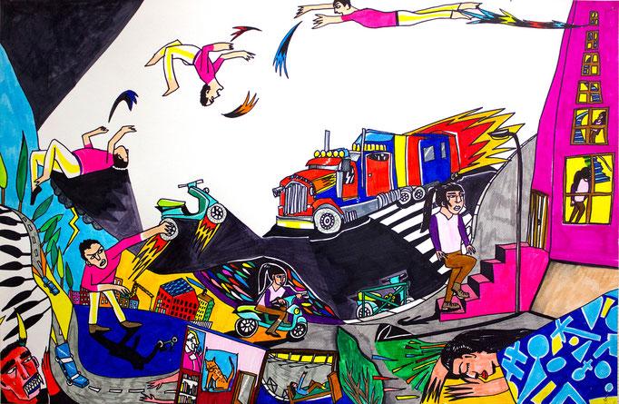 """""""L'idiot du village"""" de Patrick Rambaud, feutres sur papier, 56cm x 86cm"""