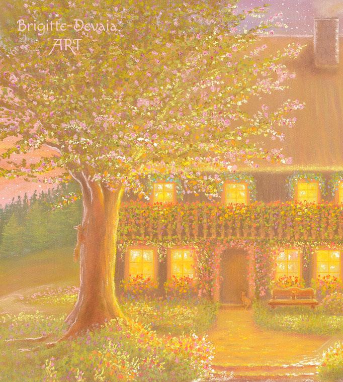 Hüsli Schutzengel - Auschnitt Baum und Hüsli