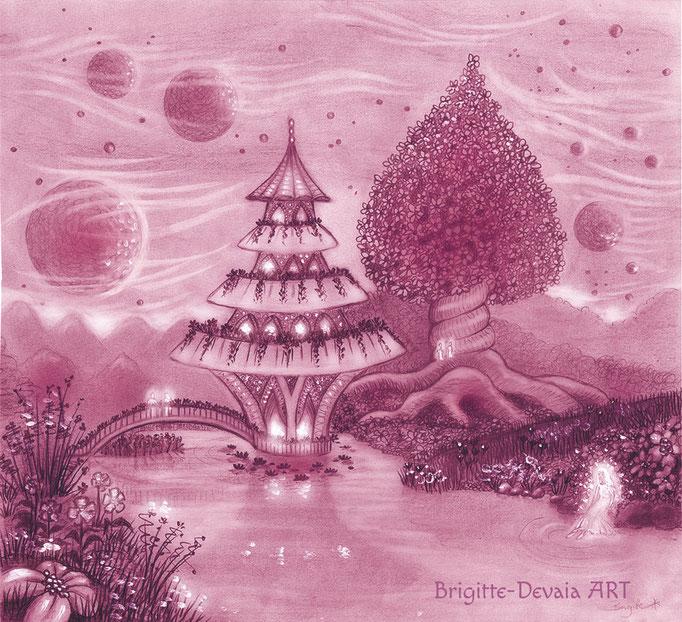 Brigitte-Devaia ART - Sternenwelt Saturn (Zeichnung - Buchillustration)