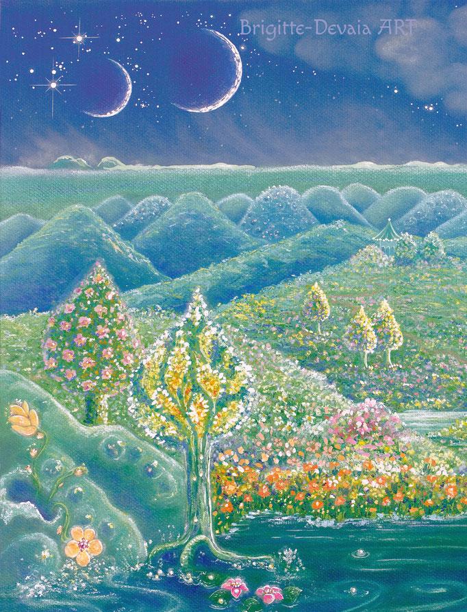 Brigitte-Devaia ART - Sternenwelt Neptun - Ausschnitt Bäume