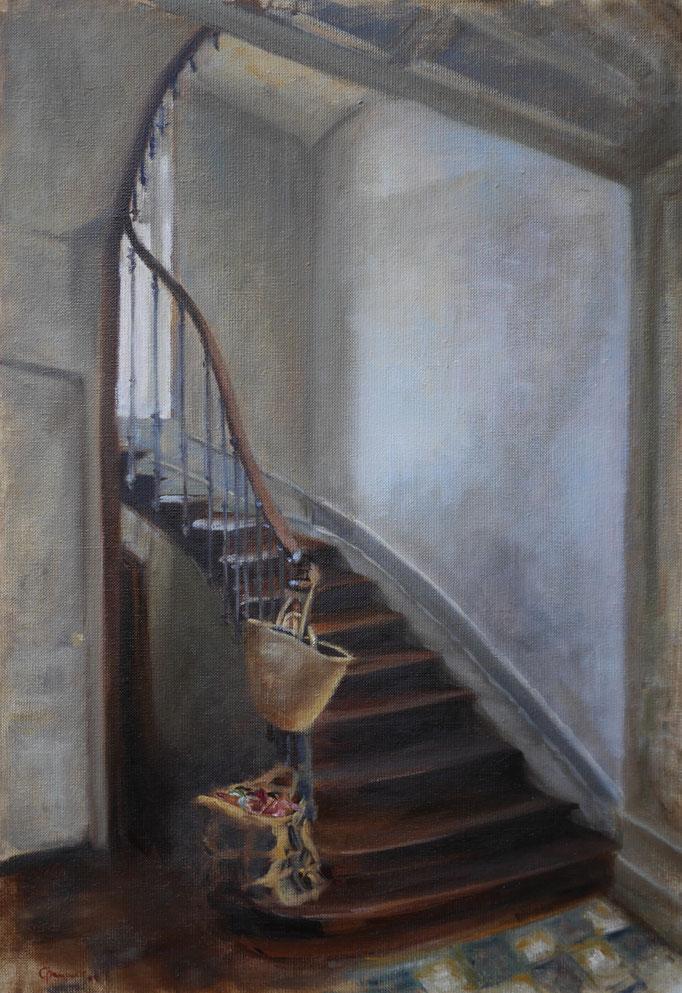 Le petit escalier, hst 55*38 cm