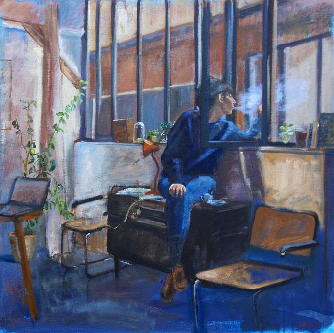 La fille de l'atelier, huile sur toile 60*60 cm