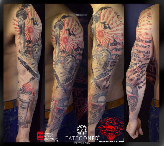 Trash polka full sleeve by Martin KolacekArtist: MartinkTattooMedTattooMed-TruckFuture Tattoo Equipment#hellotattoomed #tattoomed #tattoo #tattoos #MartINK #tat2 #FeldkirchenWesterham #products #CheyenneNadelmodule  #futuretattooequipment #Cheyennepen #alphasuperfluid #alpha100prozentblack #alpha90prozentblack #SilverbackInk