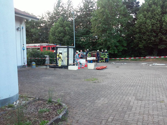 Der Dekontaminationsplatz aus der Ferne.