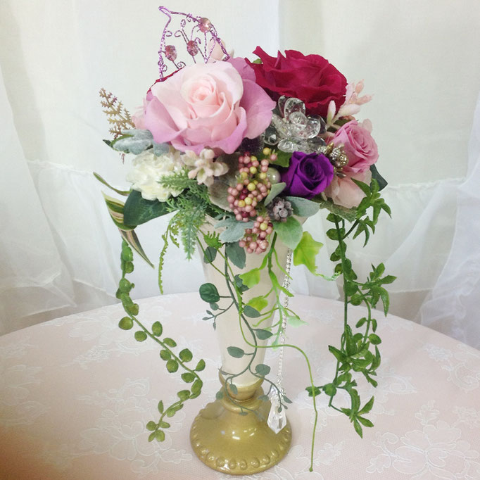 プリザーブドフラワーのロング陶器ブーケ オーナメント purple