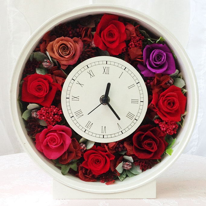 プリザーブドフラワーの時計 丸型 red