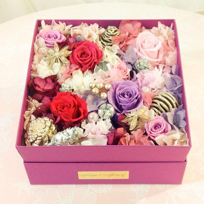 プリザーブドフラワーボックスタイプ purple