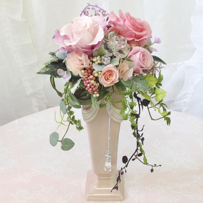 プリザーブドフラワーのロング陶器ブーケ オーナメント pink