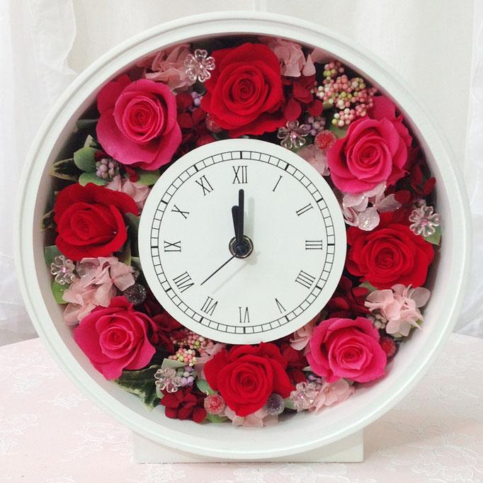 プリザーブドフラワーの時計 丸型 pink