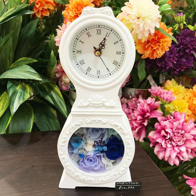 プリザーブドフラワーの時計 丸型 blue