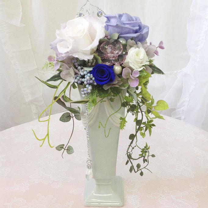 プリザーブドフラワーのロング陶器ブーケ オーナメント blue