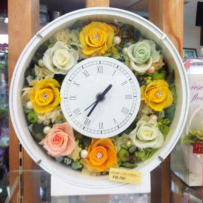 プリザーブドフラワーの時計 丸型 yellow