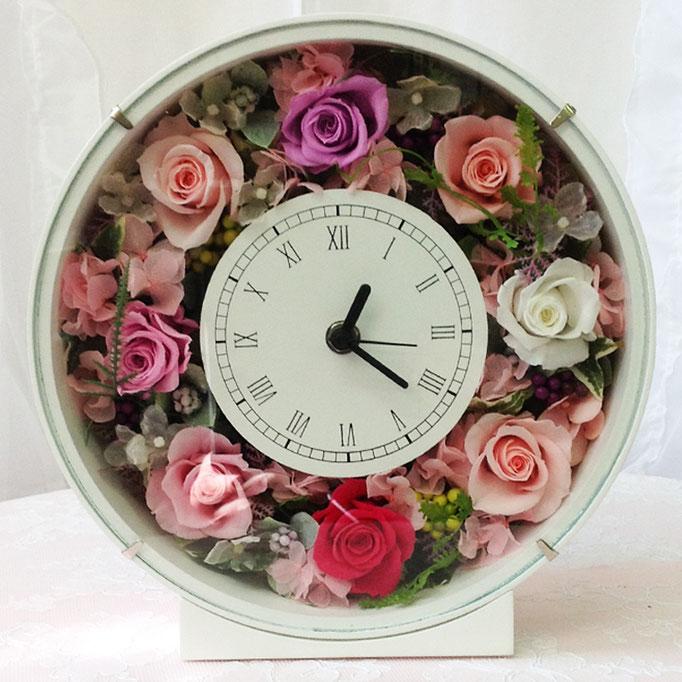 プリザーブドフラワーの時計 丸型 purple
