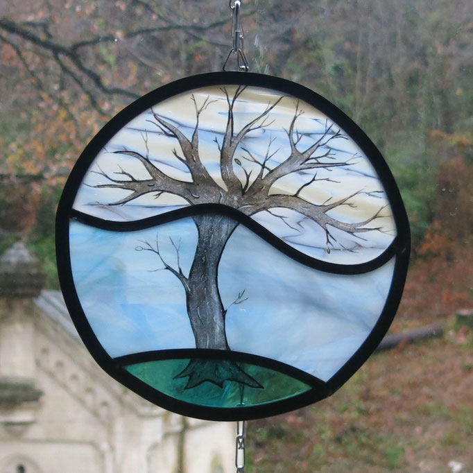 Sun catcher en vitrail arbre peint, diam. 20cm