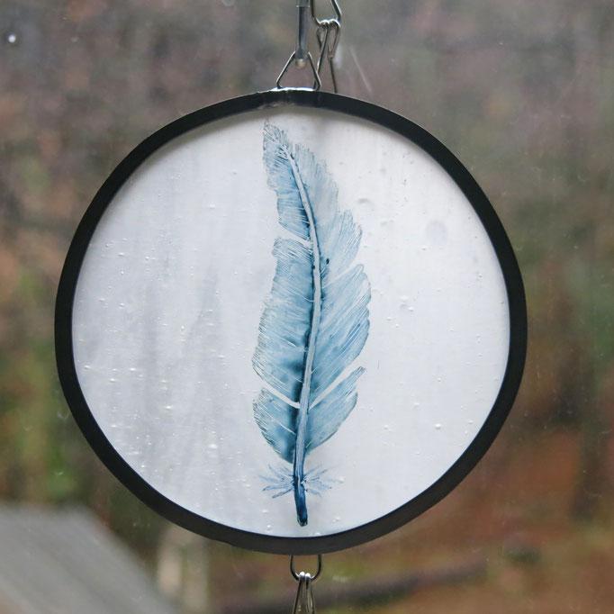 VENDU - Sun cactcher en vitrail plume peinte, diam. 10cm