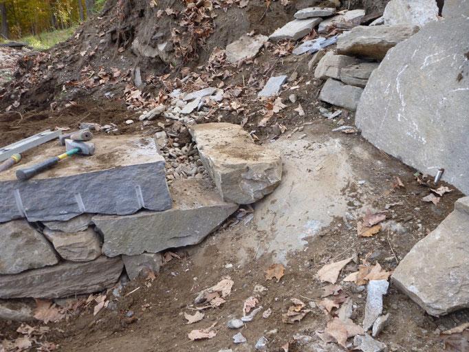 Building the dogleg corner on ledge