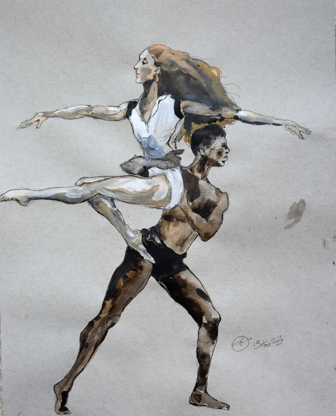danseurs. encres sur papier