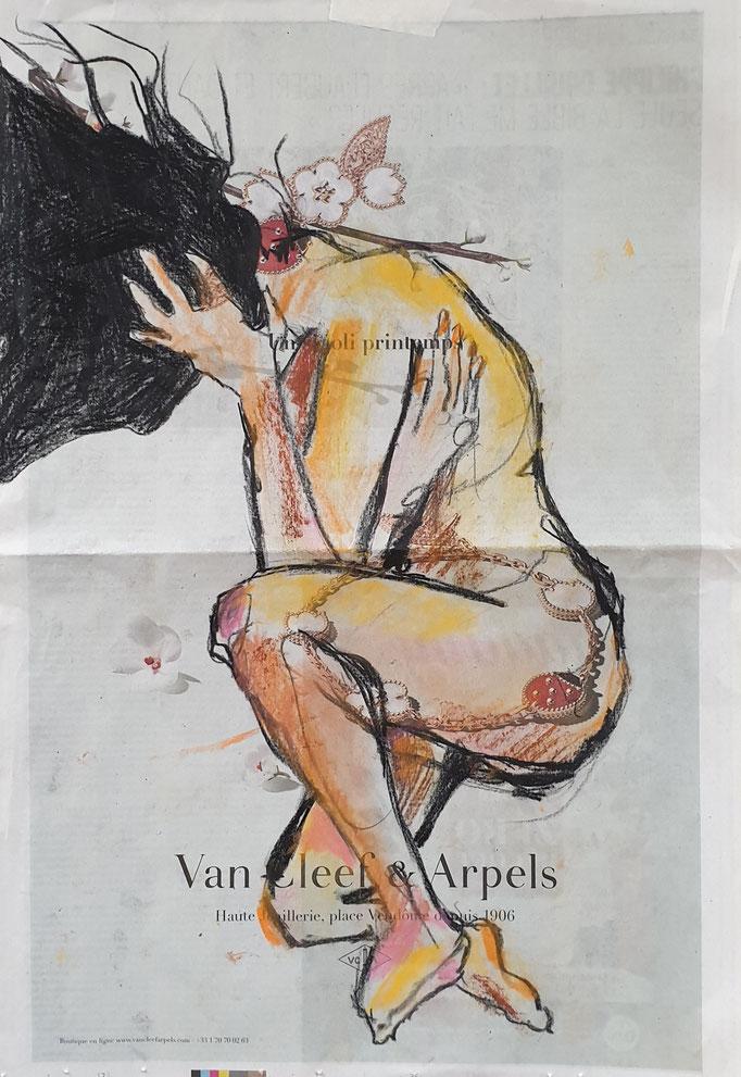 Femme. Pastels sur papier journal. coll privée