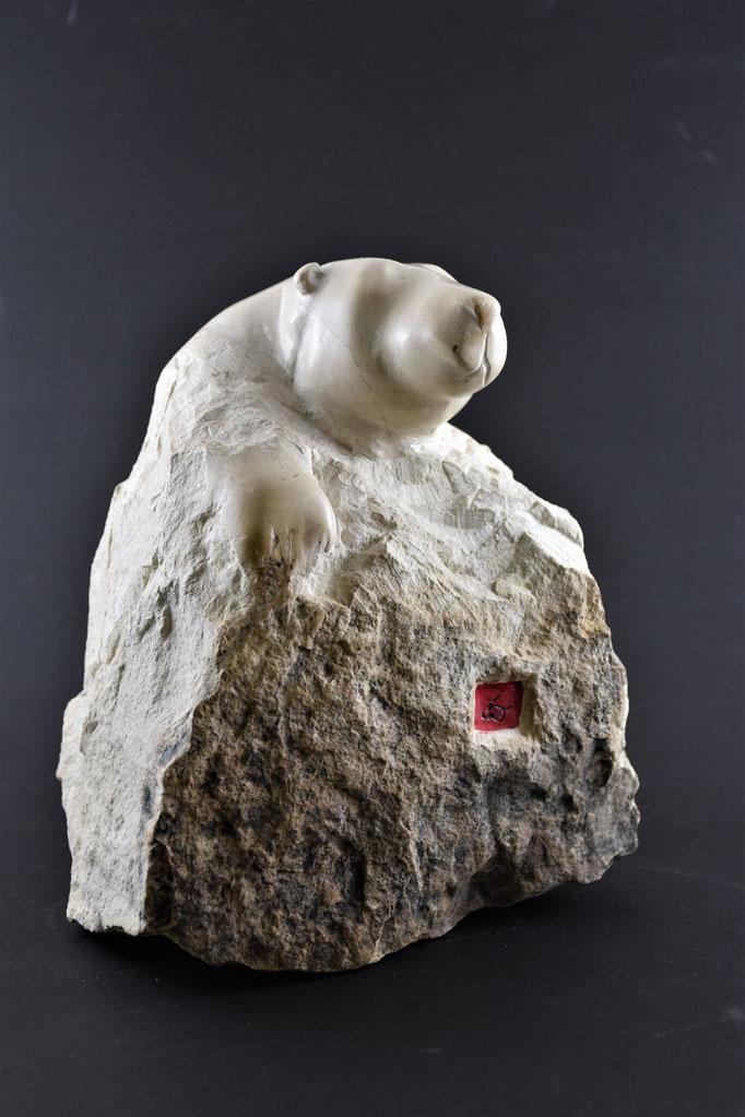 """""""Patte d'ours"""" Taille directe; pierre de Bourgogne. 25x20x15 cm"""