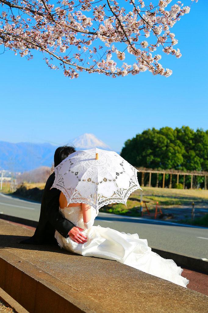 山梨 甲斐市フォトスタジオ 写真館 写真スタジオ 富士山 桜 信玄堤 ドラゴンパーク 打掛 ドレス