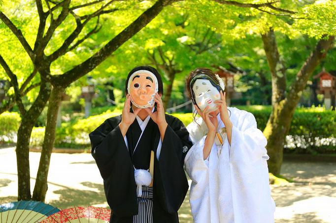 山梨和装前撮り撮影 武田神社 春夏秋冬 白無垢 紋付袴
