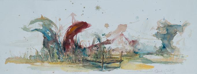 Ufer, 2002, 77x26, Aquarell/Bütten, N38                       ©Raimund Egbert-Giesen