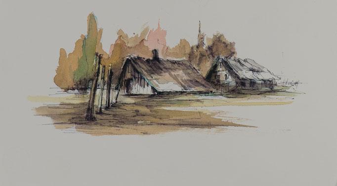 Bauernhof, 2014, 39x18, Aquarell/Bütten, N49                       ©Raimund Egbert-Giesen