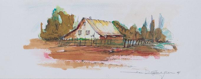 Bauernhaus, 2014 , 50x20, Aquarell, N2                       ©Raimund Egbert-Giesen