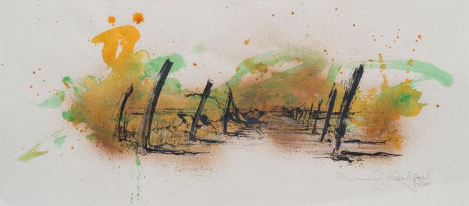 Landweg, 2004, 60x26,5, Aquarell/Bütten, N21                       ©Raimund Egbert-Giesen