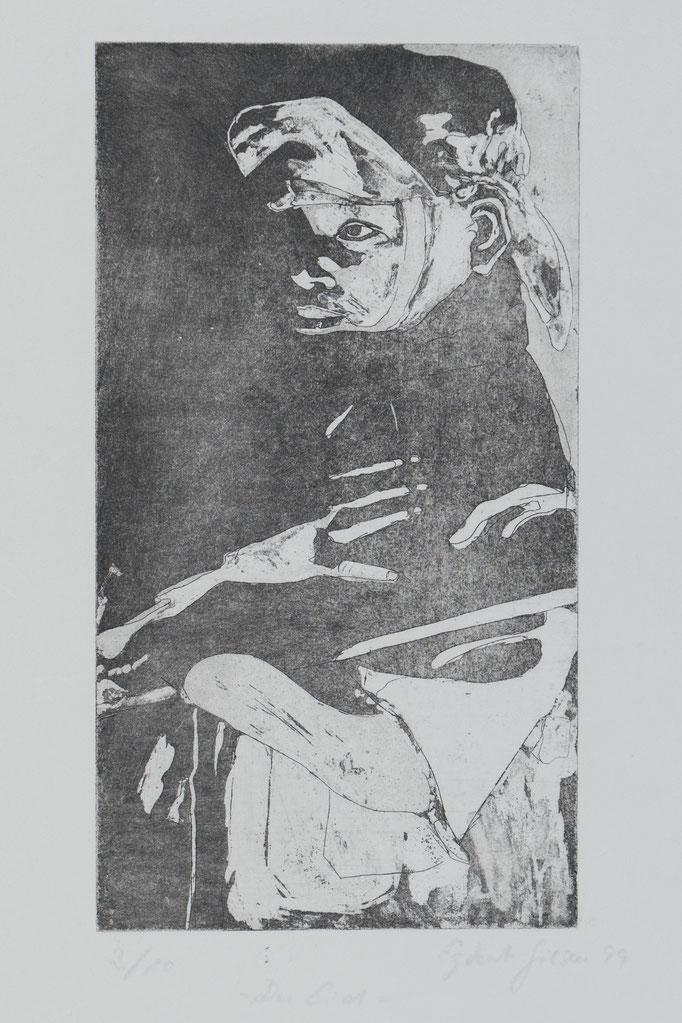 Der Eid, 1999, 23,5x13, Radierung/Bütten, R3                                  ©Raimund Egbert-Giesen